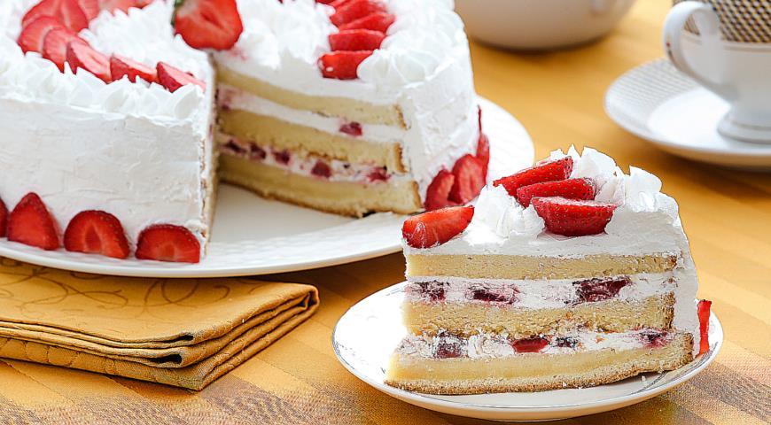 рецепт бисквитного торта с кремом и фото