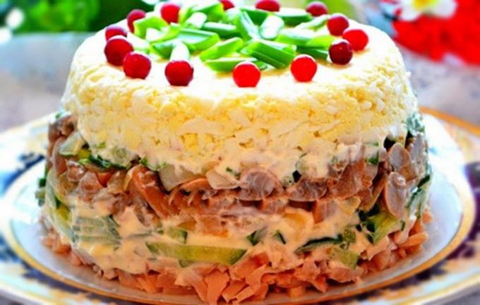салат с копченой куриной грибами рецепты