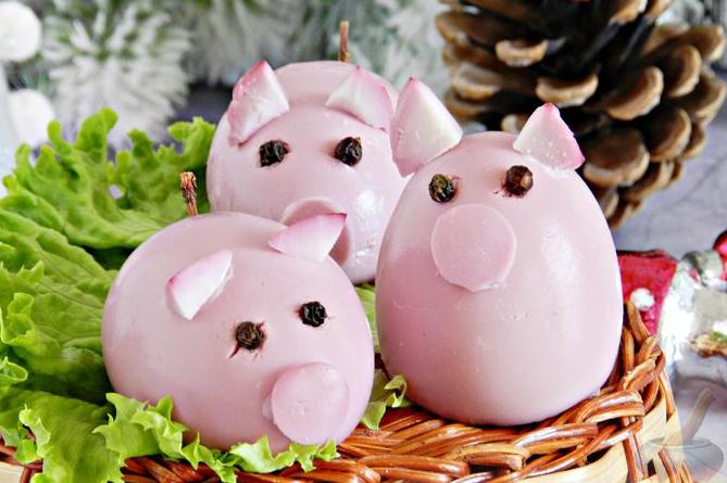 Яйца в виде поросят— новогодняя закуска