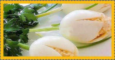 """Оригинальная закуска в виде цветов """"Белые Тюльпаны"""""""