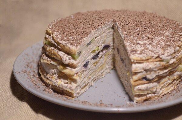 Блинный торт с творожным кремом на Масленицу