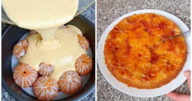 Заливаем свежие мандарины тестом и готово. Отменный карамельный пирог из мандарин на Новый Год.