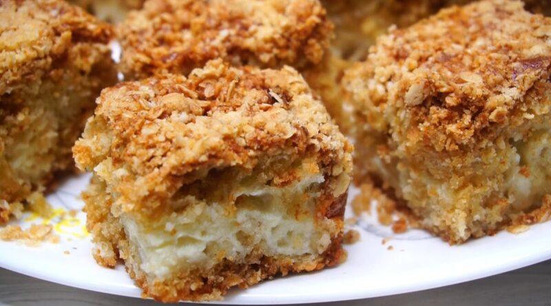 Пирог овсяный с кремом