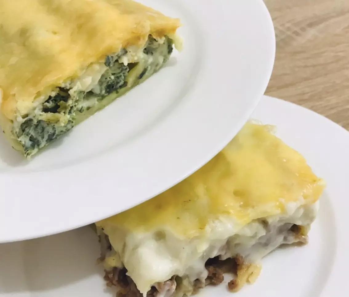КАННЕЛЛОНИ с двумя видами начинки: мясная и шпинат + рикотта