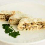 Рулет из лаваша с грибами и плавленым сыром