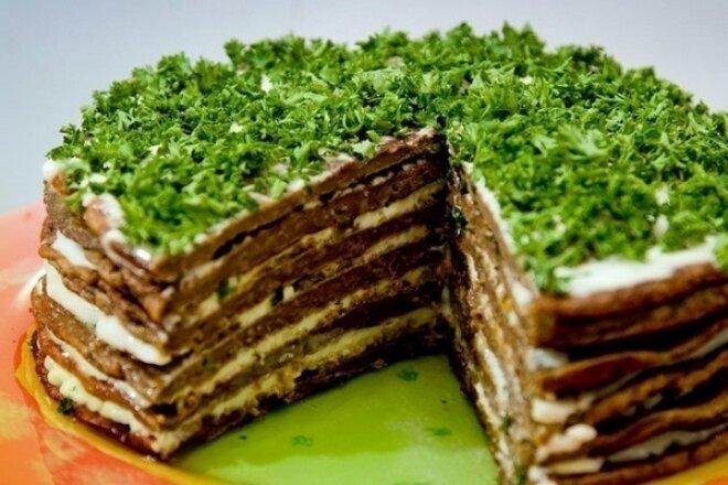 Печеночный торт «Прощай фигура» с грибами