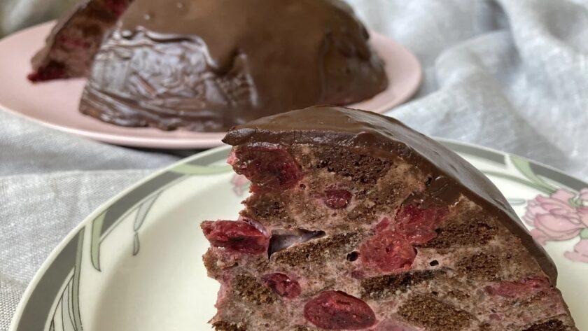 Мозаичный шоколадный торт с вишней - факап удался