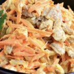 Салат со свининой и маринованным луком