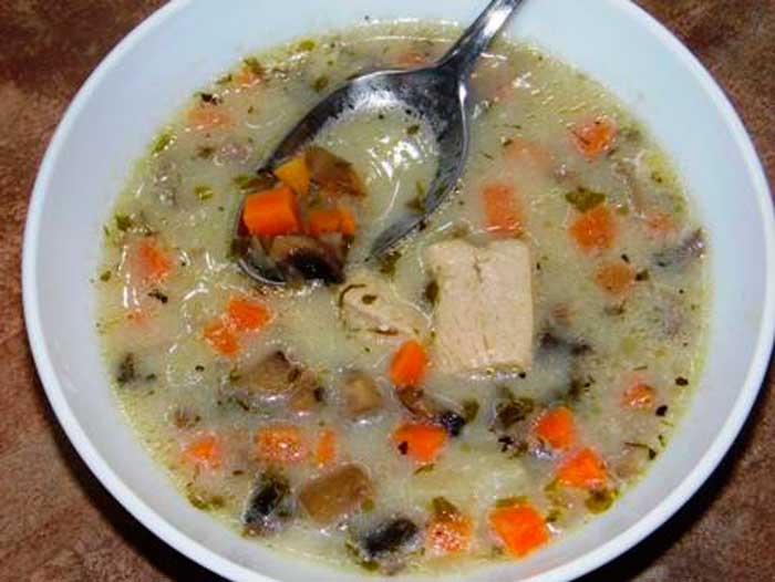 Нежный суп с грибами и индейкой